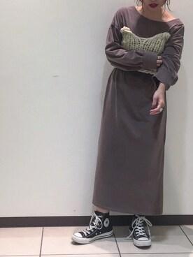 アナザーエディション 柏店|Yui Inoueさんの「ボートネックマキシワンピース(Another Edition)」を使ったコーディネート