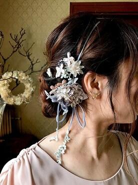 m.soeur京都アトリエ|m.soeurさんの「リボンとお花のネックレス(m.soeur)」を使ったコーディネート