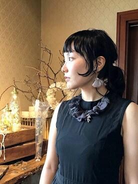 m.soeur京都アトリエ|m.soeurさんの「リネンとスイートピーのネックレス*(m.soeur)」を使ったコーディネート