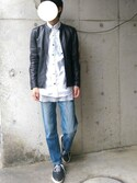 5aU / さゆうさんの「ラムレザーシングルライダース(UNITED TOKYO ユナイテッドトウキョウ)」を使ったコーディネート
