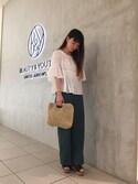 KAWASHIMA KIYOMIさんの「BY∴ ペーパースクエアショルダーバッグ -2WAY-/かごバッグ(BEAUTY&YOUTH UNITED ARROWS|ビューティアンドユースユナイテッドアローズ)」を使ったコーディネート