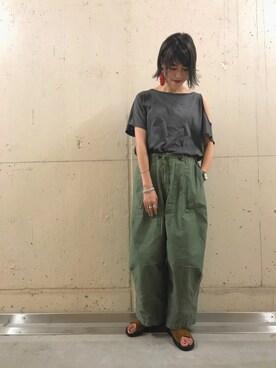 Ciaopanic船橋店 ハギワラ アリサさんの「ピグメント加工オープンショルダーTシャツ(Ciaopanic)」を使ったコーディネート