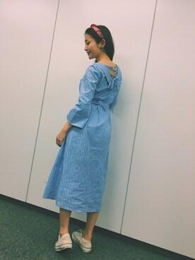 Haruka Kurashimaさんの「バックレースアップシャツワンピース◆(REDYAZEL)」を使ったコーディネート