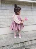 kumakumaさんの「【MARLMARL/マールマール】 bouquet お食事エプロン /無地タイプ・ベビーサイズ(MARLMARL|マールマール)」を使ったコーディネート