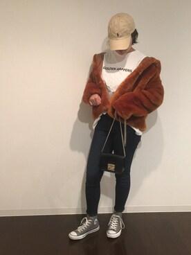 chanmaeさんの「エコファーフードジャケット(CIAOPANIC)」を使ったコーディネート