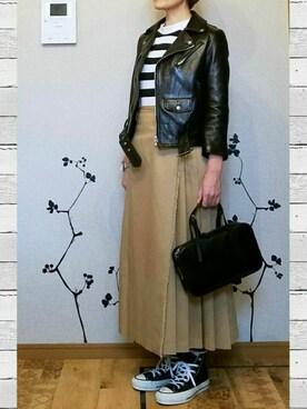 N.BRUNCH|N.さんの「■別注■beautiful people×MIDWEST ライダースジャケット(beautiful people)」を使ったコーディネート