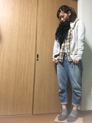 nami☆Yさんの「粗挽き杢 裏毛ビックフードパーカー(goa -)」を使ったコーディネート