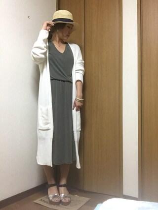 nami☆Yさんの「【カタログ掲載】【雑誌掲載】(ECUA-ANDINO)607WH PANAMA CLASSIC WHITE HAT(ROSE BUD ローズバッド)」を使ったコーディネート