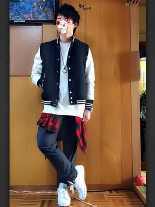 受験終わるまで更新率悪めです。さんの「◆雑誌【FINEBOYS】12月号掲載◆ウールスタジャン/550183(RAGEBLUE|レイジブルー)」を使ったコーディネート