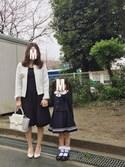 moyooonnさんの「【入学式・卒業式対応スーツ】ノーカラージャケット&フレアワンピースフリンジデザインセットアップスーツ(GIRL|ガール)」を使ったコーディネート