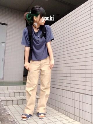 youkiさんの「Bamboo ショートTシャツ(MURUA ムルーア)」を使ったコーディネート