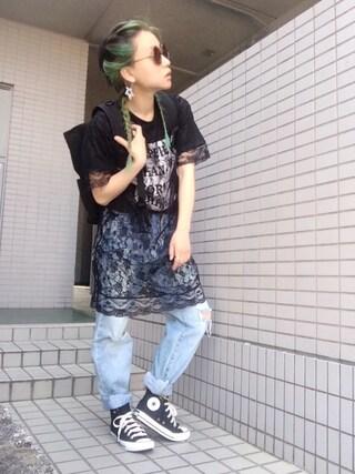 youkiさんの「WEGO/レースレイヤードロングTシャツ(WEGO ウィゴー)」を使ったコーディネート