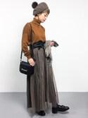 yukiさんの「選べる2type!ミディ丈&マキシ丈ふんわりチュールスカート(and it_|アンドイット)」を使ったコーディネート