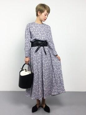 ZOZOTOWN|yukiさんの「バックリボン花柄ワンピース(Mila Owen|ミラ オーウェン)」を使ったコーディネート