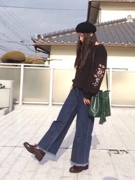 Manaka さんの「袖刺繍スリット入りプルオーバー(w closet ダブルクローゼット)」を使ったコーディネート