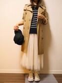 yuyueee2さんの「カジュアルにもフェミニンにも♪ウエストゴム☆ボリュームフレアチュールスカート[M1410](KOBE LETTUCE KOBE LETTUCE)」を使ったコーディネート
