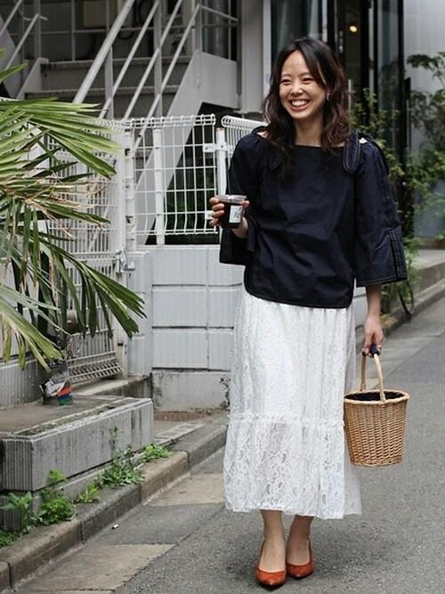 shokoさんの「【SIMPLICITE】TRラッセルレースティアードロングスカート◆(Simplicite)」を使ったコーディネート