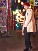 """まさ is wearing RAGEBLUE """"ライトチェスターコート"""""""