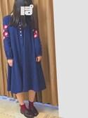 ぽさんの「お花刺繍フォークロアワンピース2628(merlot|メルロー)」を使ったコーディネート