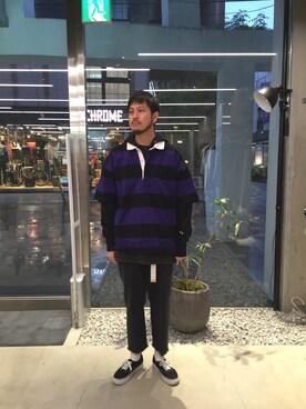 モンキータイム ビューティ&ユース ユナイテッドアローズ 原宿店 Kouta HoriuchiさんのTシャツ/カットソー「<FILA × monkey time> RUGBY SHIRT 5SL/ラガーシャツ(FILA フィラ)」を使ったコーディネート