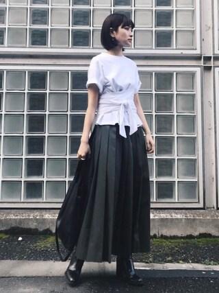 MariNakamuraさんの「WAIST WIDE WRAP TOPS(RIM.ARK|リムアーク)」を使ったコーディネート