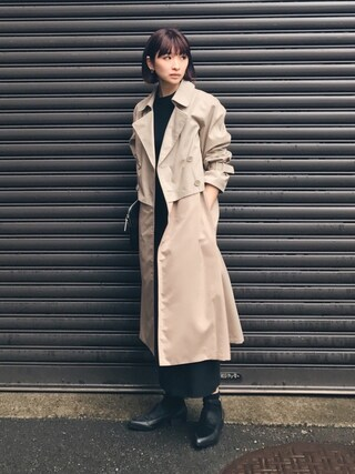 MariNakamuraさんの「W LAYERED TRENCH COAT(RIM.ARK|リムアーク)」を使ったコーディネート