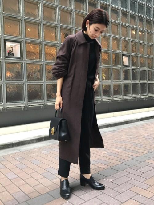 MariNakamuraさんの「スタンドフォールカラーコート(RIM.ARK)」を使ったコーディネート