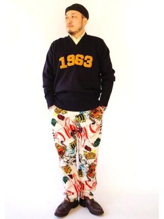 tortoise yoheiさんの(60s レタードセーター)を使ったコーディネート