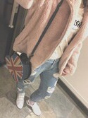 「FOREVER 21 Distressed Boyfriend Jeans(Forever 21)」 using this まお looks