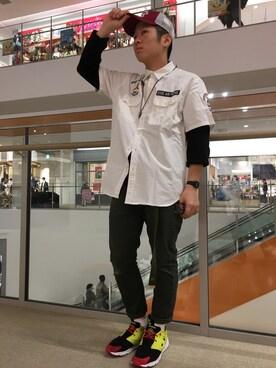 "AVIREX 横浜 hayato inoueさんのキャップ「【直営店限定】AVIREX×NEW ERA MESH CAP ""KEEP FLYNG""/ アヴィレックス×ニューエラ ""キープフライング""(AVIREX アヴィレックス)」を使ったコーディネート"