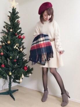 memeさんの「NUSY パプコーン編みがかわいいおしゃれニットワンピース(haco!)」を使ったコーディネート