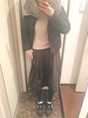 ちっちさんの「WOMEN コットンカシミヤケーブルクルーネックセーター(長袖)(ユニクロ|ユニクロ)」を使ったコーディネート