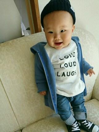 HARUHARUさんの「LOUD LOUD LAUGH Tシャツ(quoti use fith|クゥオティ ユース フィス)」を使ったコーディネート