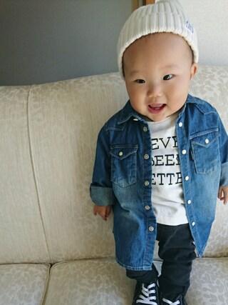 HARUHARUさんの「ロゴプリント長袖Tシャツ(quoti use fith|クゥオティ ユース フィス)」を使ったコーディネート