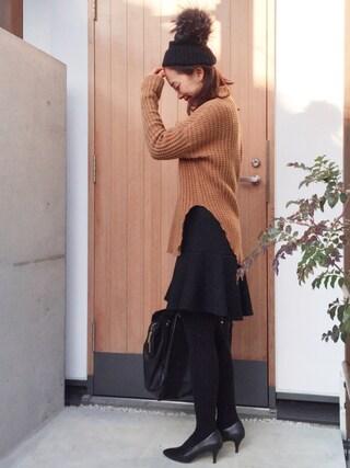 Y U K I K Oさんの「◆ADAMミラノリブ ペプラムスカート(Deuxieme Classe ドゥーズィエムクラス)」を使ったコーディネート