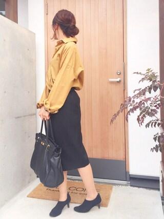 Y U K I K Oさんの「Double Cloth ラップスカート◆(Deuxieme Classe|ドゥーズィエムクラス)」を使ったコーディネート