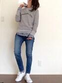 「WOMEN プレミアムリネンチェックシャツ(長袖)(ユニクロ)」 using this miii looks