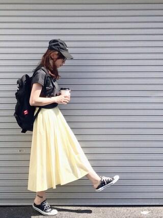SIZUさんの「LOGO COTTON CAP キャップ/パステルカラー/春色/ロゴ/ギフト(X-girl|エックスガール)」を使ったコーディネート