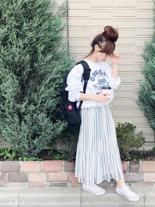 SIZUさんの「X-girl×BURGER RECORDS CUSTOM SWEAT TOP(X-girl)」を使ったコーディネート