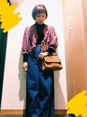 "megu is wearing Heather ""フトベルトデニムワイドパンツ 736147"""