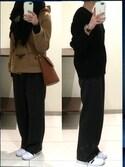 福太郎さんの「ベルトツキピンストライプワイドパンツ 705272(apart by lowrys|アパートバイローリーズ)」を使ったコーディネート