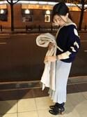 土倉  明莉さんの「ボーイフレンドウォッチ スクエア ブラック×カーキ(ete|エテ)」を使ったコーディネート