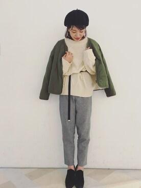 IKUMI|nakata shioriさんの「ベーシックベレー帽(Omekashi)」を使ったコーディネート