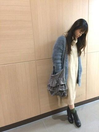 INTERPLANET WINGS 浜松市野店|NaNaさんの「ブークレロングニットOP(INTERPLANET|インタープラネット)」を使ったコーディネート