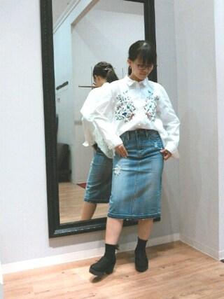 INTERPLANET WINGS 浜松市野店|NaNaさんの「【OP】刺繍×コードレースシャツ(INTERPLANET WINGS|インタープラネットウィング)」を使ったコーディネート