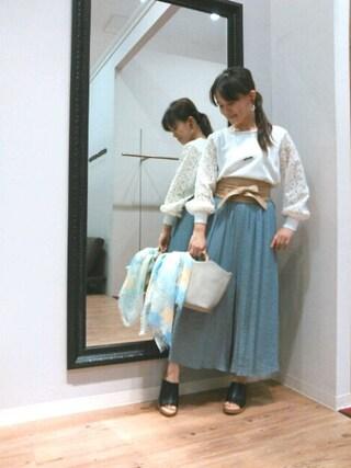 INTERPLANET WINGS 浜松市野店|NaNaさんの「フラワーレース袖ニット(INTERPLANET|インタープラネット)」を使ったコーディネート