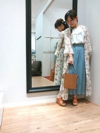 INTERPLANET WINGS 浜松市野店|NaNaさんの「ヴィンテージフラワーシャツワンピース(actuel|アクチュエル)」を使ったコーディネート