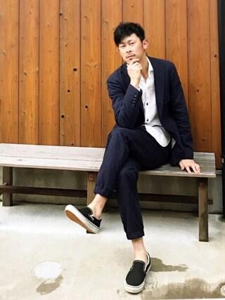 SAO★☆★さんの「MEN ジョガーパンツ(ストライプ・レングス76cm)(ユニクロ|ユニクロ)」を使ったコーディネート