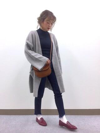 shihocooさんの「High gauge knit cardigan(marjour|マージュール)」を使ったコーディネート