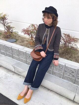 shihocooさんの「コード刺繍ジャケット(Lily Brown|リリー ブラウン)」を使ったコーディネート